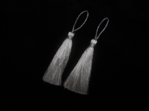 2 Silver lurex christmas tassels 8cm + loop Shiny grey xmas craft or key tassels